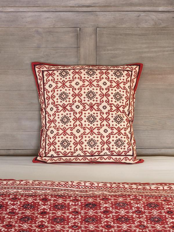 Ruby Kilim (CP) ~ Rustic Red Black Throw Pillow Cushion Cover