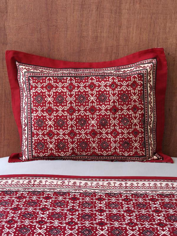 Ruby Kilim ~ Rustic Red Black Pillow Sham Flanged