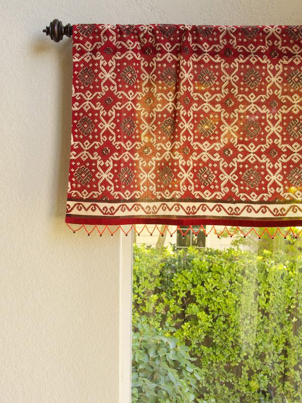 Ruby Kilim ~ Rustic Red Sheer Beaded Window Valance Treatment