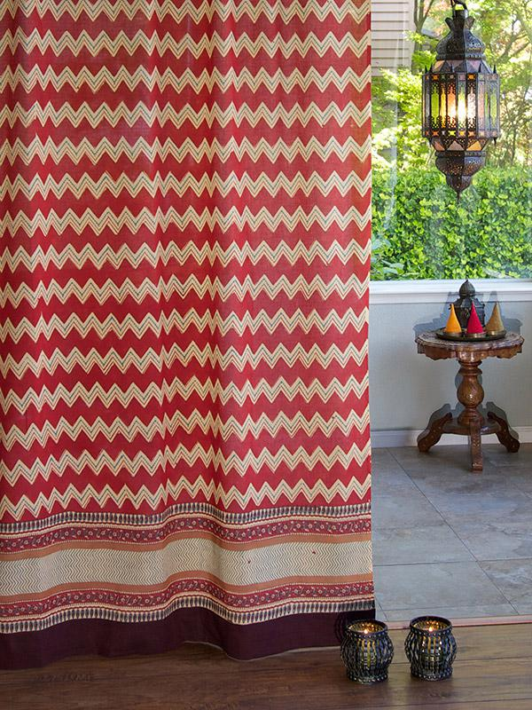 Spice Route (CP) ~ Red Orange Chevron Print Sheer Curtain Panel