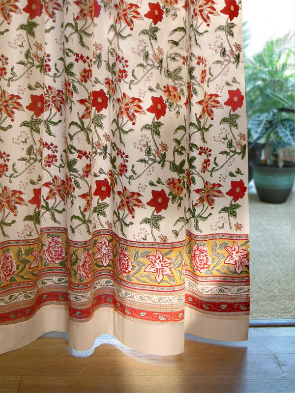 Red floral curtains ~ floral print ~ fall curtains