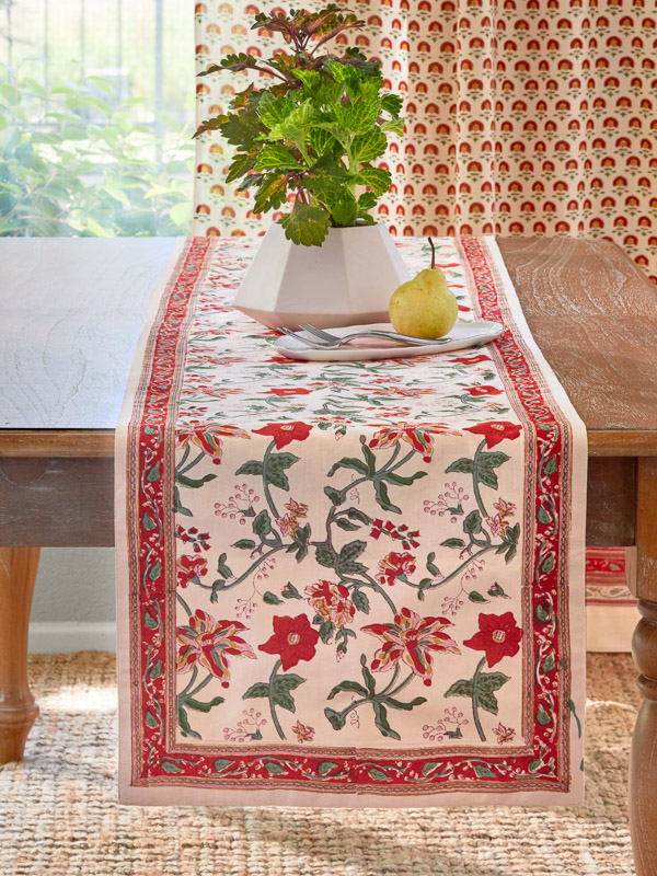 Exotic Festive Floral Table Runner