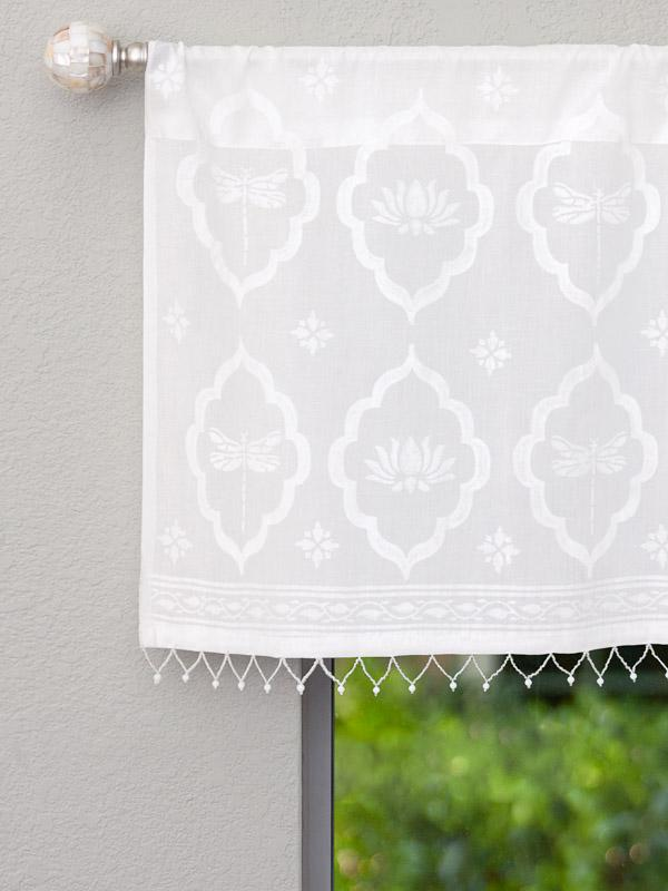 White farmhouse curtains white valance with beads and a dragonfly print