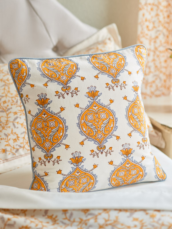 Block printed fabric yellow and white fall pillow cover