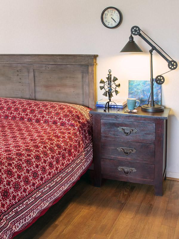 red and black bedspread rustic bedroom ~ fall bedroom