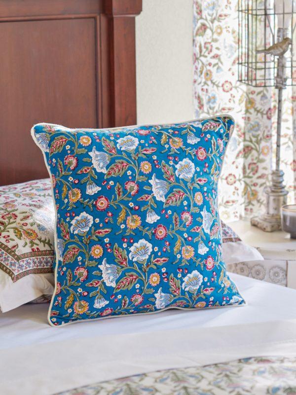 blue floral print pillow cover