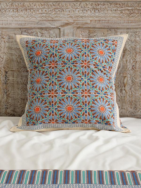 blue throw pillows ~ Moroccan print ~ floral throw pillow
