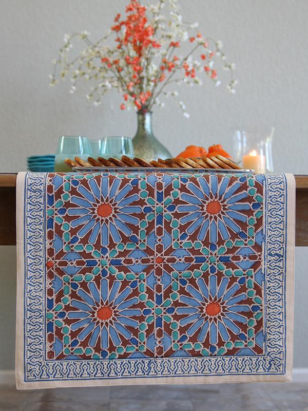 blue floral table runner ~ fall table runner