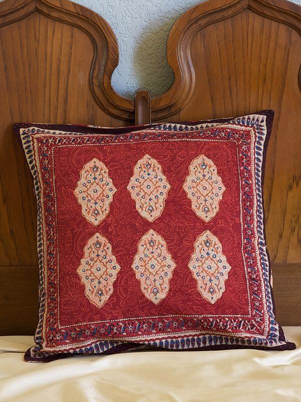 red throw pillow ~ Moroccan print ~ boho throw pillow