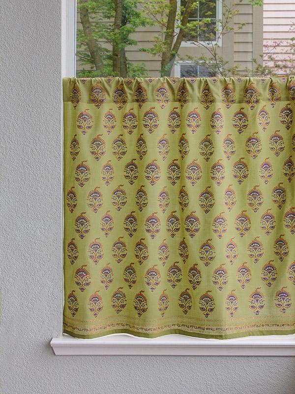 Asian Floral Green Kitchen Curtain