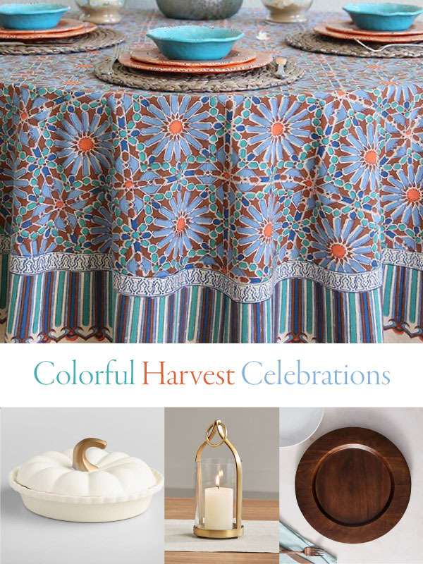colorful harvest celebrations with tablecloth and pumpkins