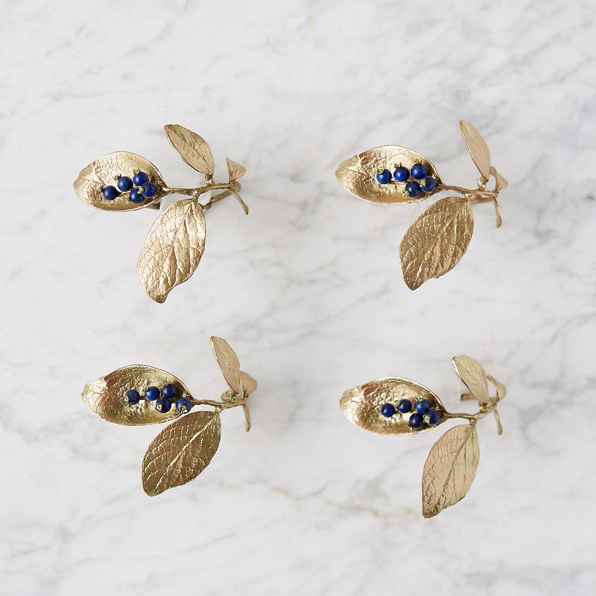 Blueberry Stem Napkin Rings, Set of 4