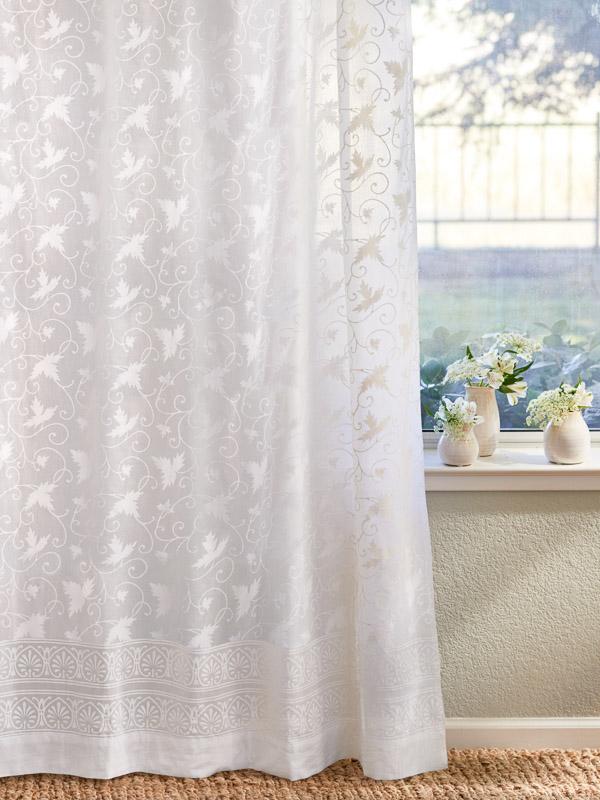 White Farmhouse Curtains White Floral India Sheer Curtain Panels