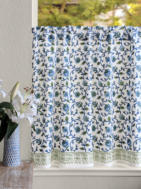Exotic Turquoise Floral Kitchen Curtain