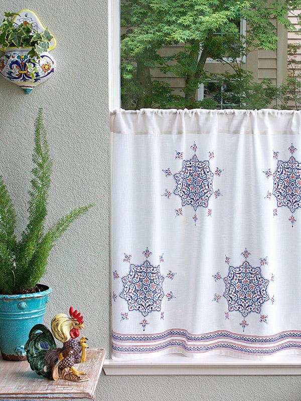 French Country Boho Kitchen Curtain
