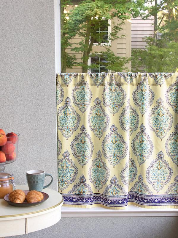 French Country Medallion Yellow Kitchen Curtain
