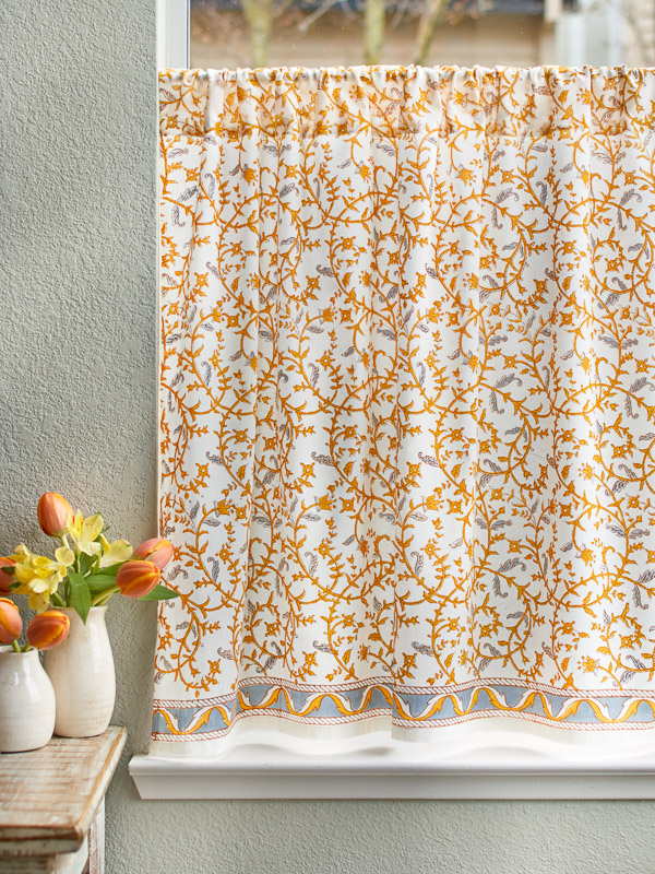 French Yellow Grey Floral Kitchen Curtain