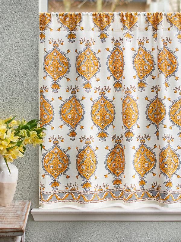 French Yellow Grey Medallion White Kitchen Curtain