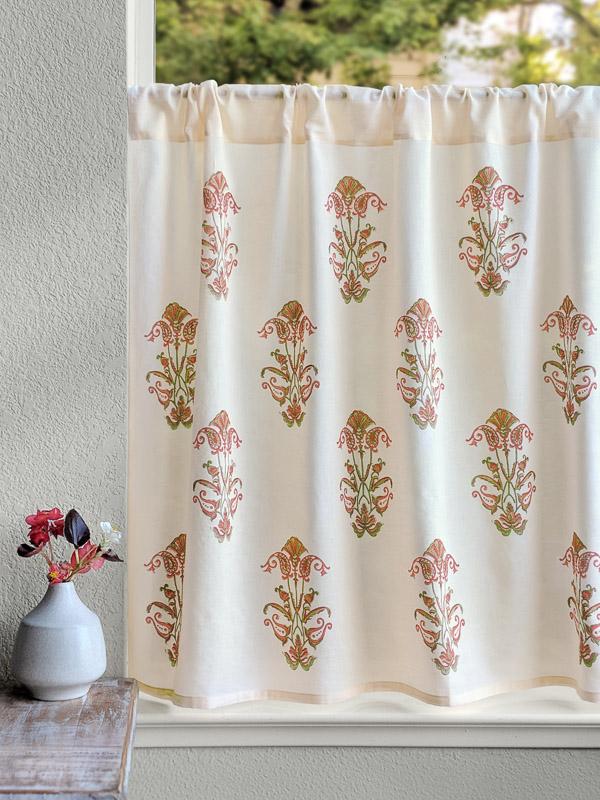 Mediterranean Floral Kitchen Curtain