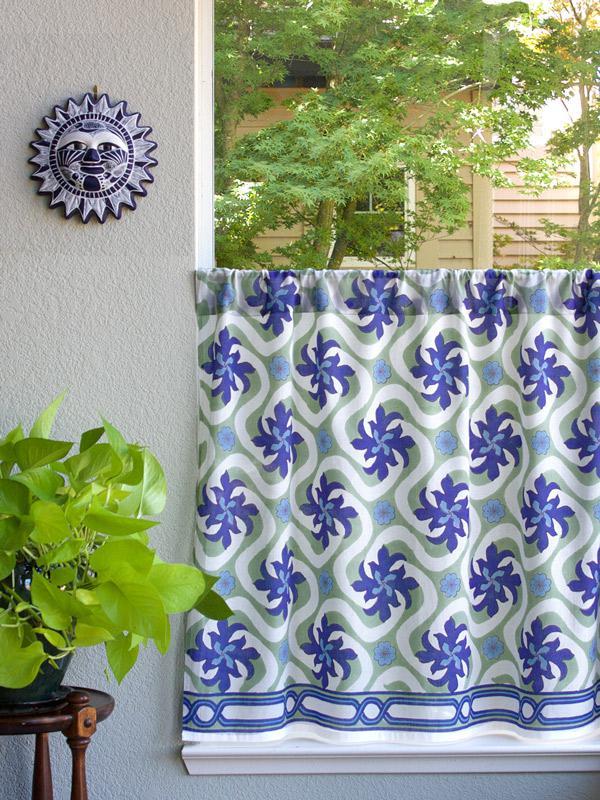 Ocean Beach Tropical Floral Kitchen Curtain