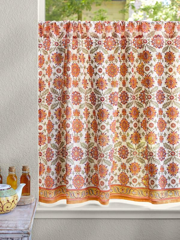 Persian Mediterranean Floral Kitchen Curtain