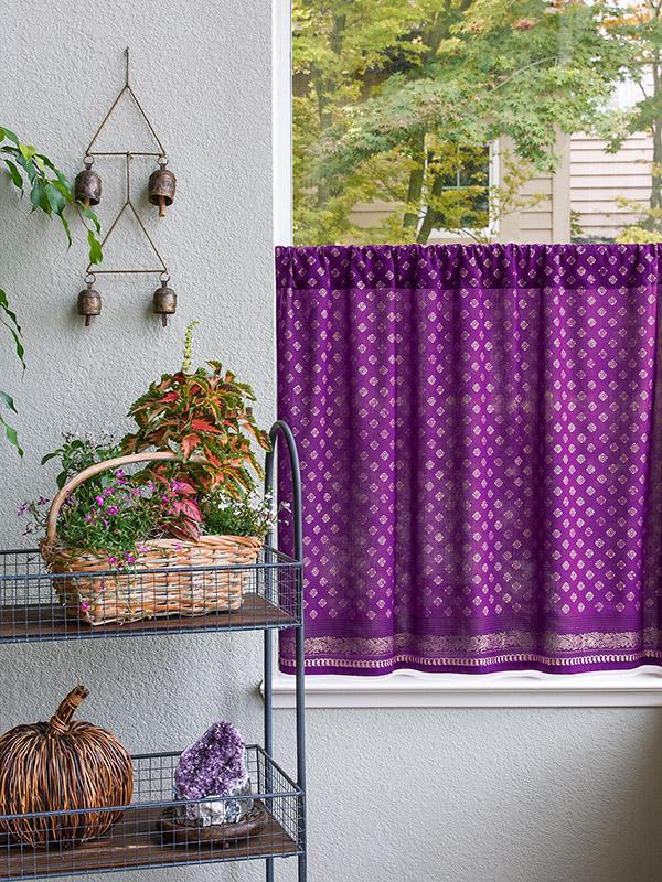 Plum Purple & Gold Sari Print Kitchen Curtain