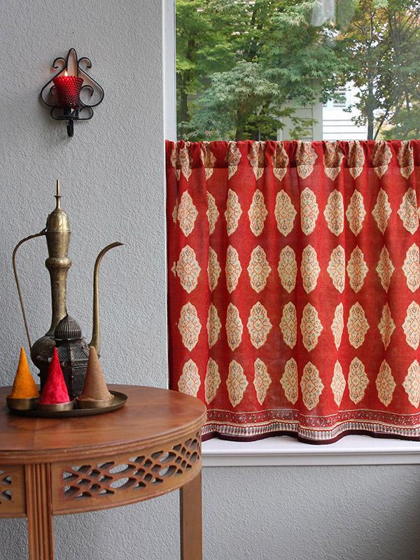 Red Orange Moroccan Indian Kitchen Curtain