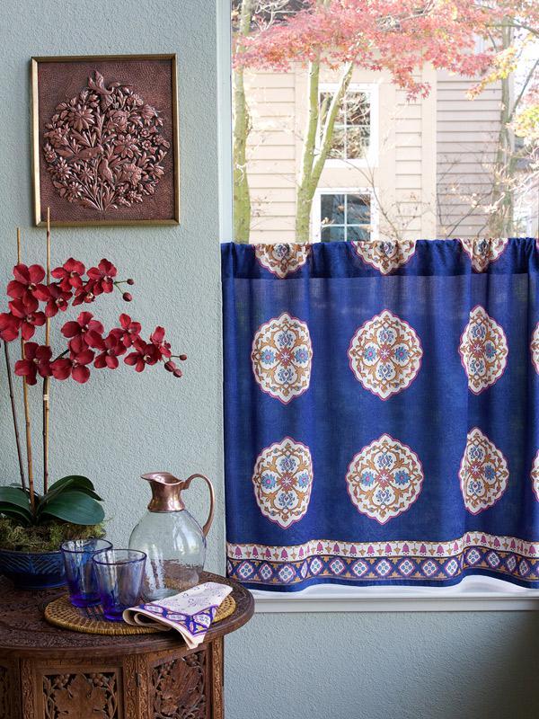 Royal Blue Moroccan Medallion Kitchen Curtain