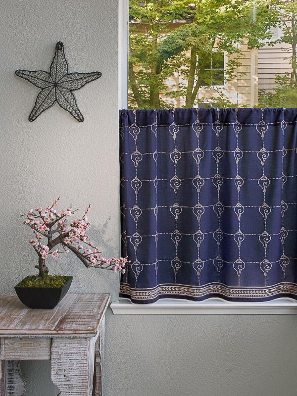 Rustic Navy Ocean Oriental Kitchen Curtain