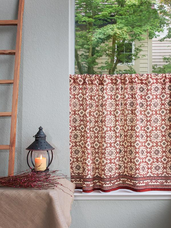 Rustic Ruby Red and Black Kitchen Curtain