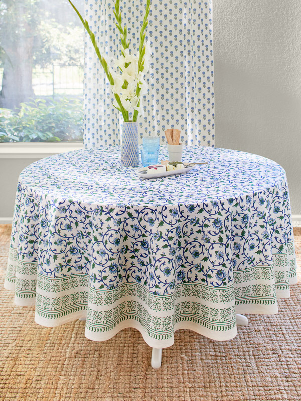 Turquoise Elegant Floral Round Indian Tablecloth