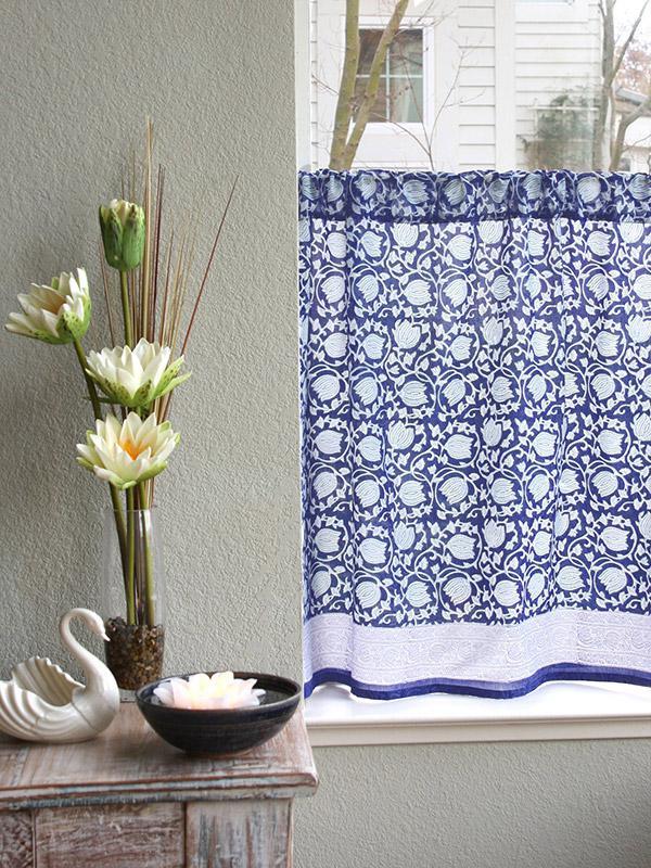 Unique Asian Blue Floral Kitchen Curtain