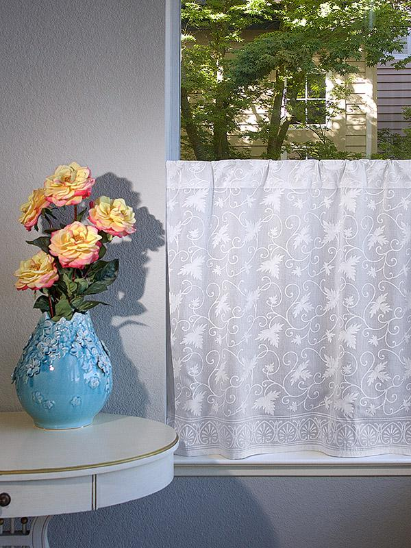 White Country Cottage Floral Kitchen Curtain