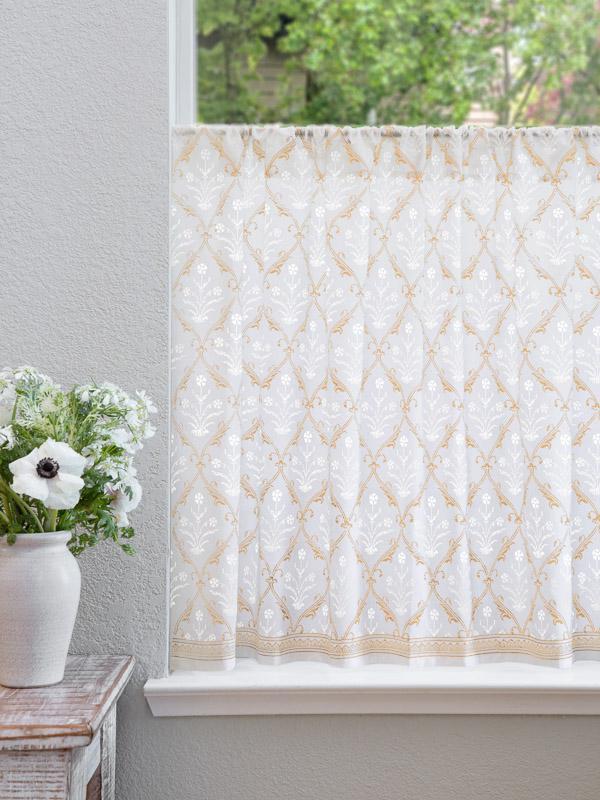 White Gold Floral Kitchen Curtain