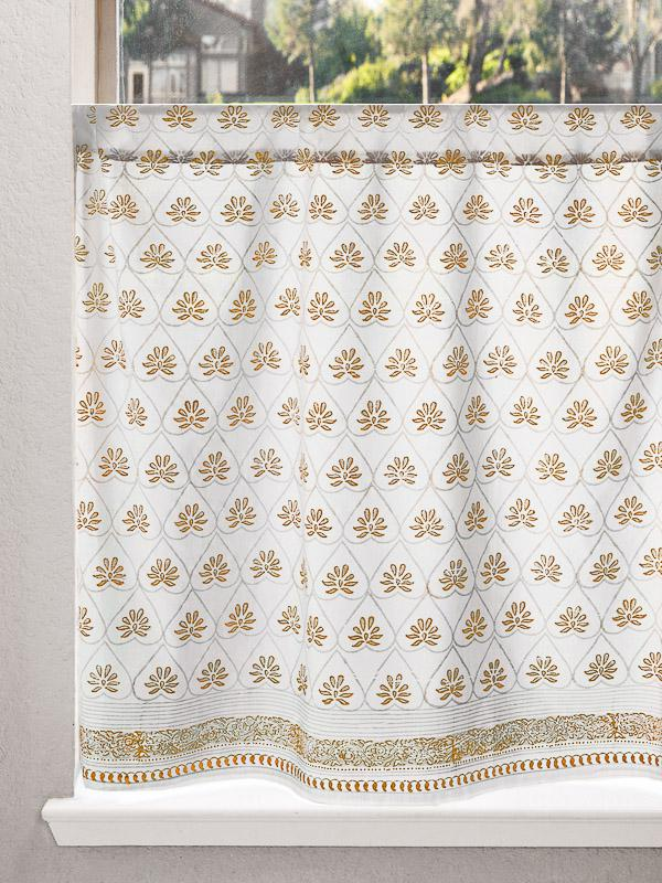 White Gold Kitchen Cafe Curtain
