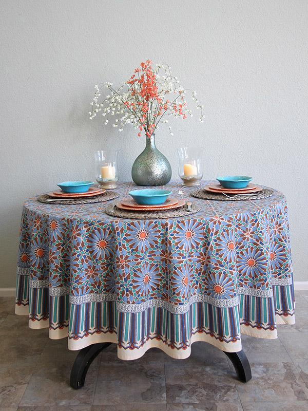 Moroccan Tile Print Blue Round Tablecloth
