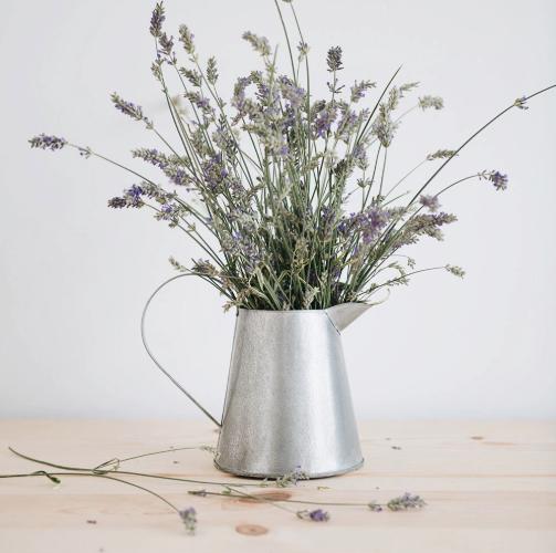 Antique Grey Metal Pitcher Vase