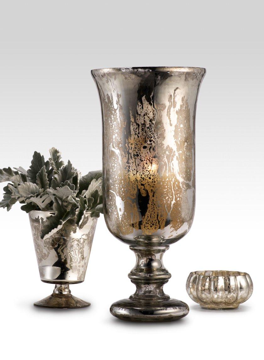 Antiqued Silver Bowl, Urn, & Vase
