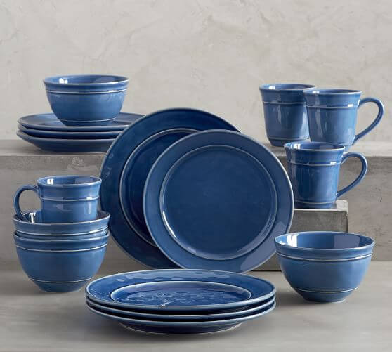 Cambria 16-Piece Dinnerware Set - Ocean Blue