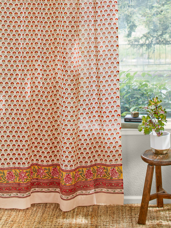Country Cottage Colorful Curtain Panel