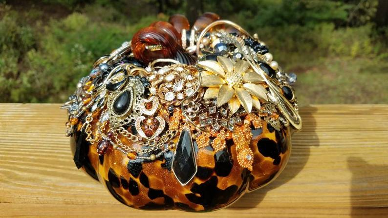 Fall Decor, Jeweled pumpkin, blown glass,