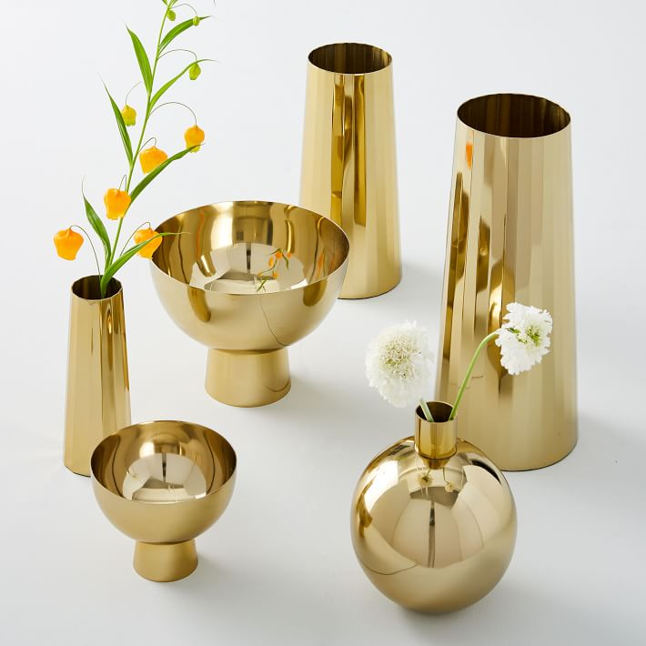 Foundations Metal Vases- Brass