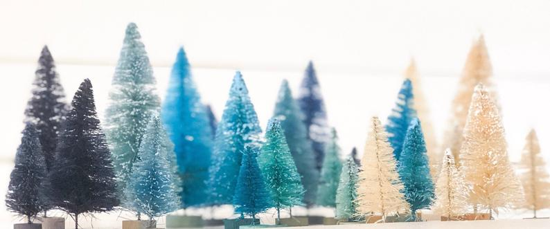 Hanukkah Decor - 26 Sisal Trees - Blues and Whites