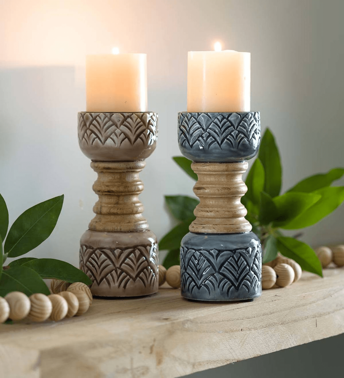 Mango Wood Pillar Candlesticks - Blue Stone