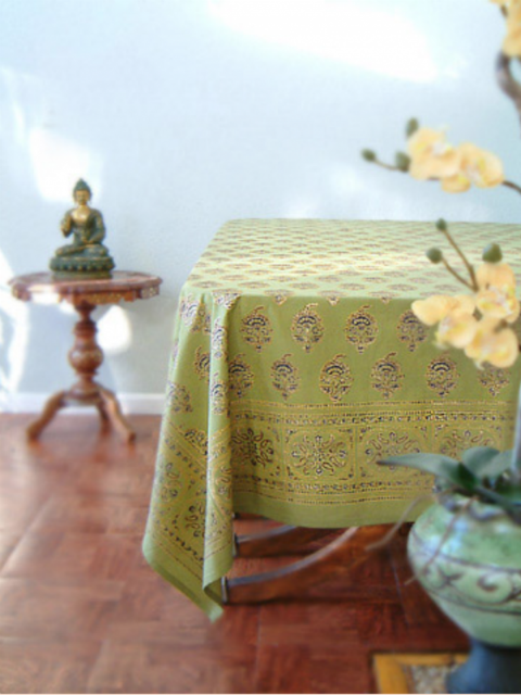 Memories of Shalimar Asian Indian Green Gold Table Cloths