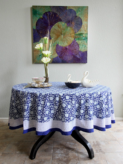 Midnight Lotus ~ Asian Blue Floral Banquet Round Tablecloth