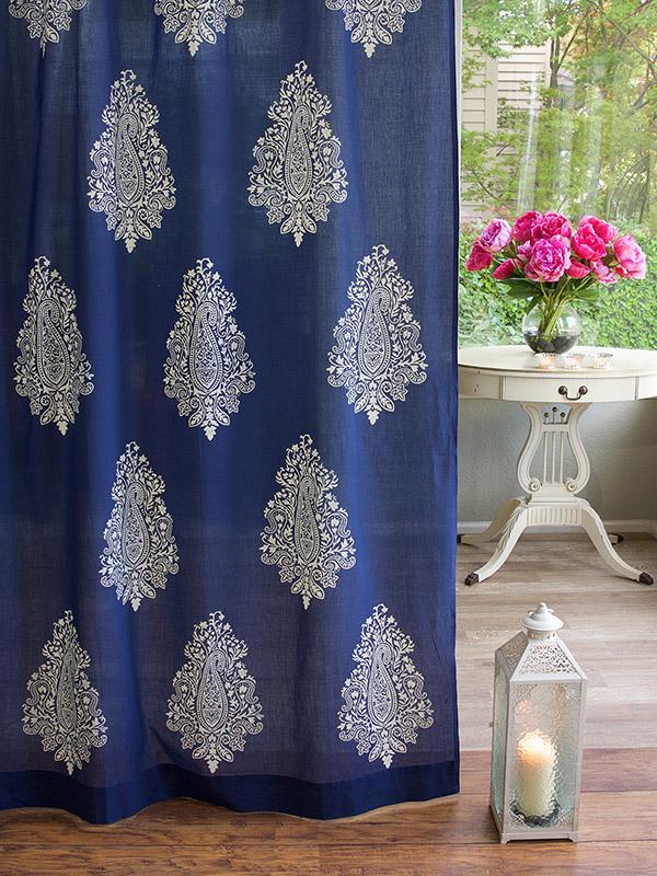 Mood Indigo ~ Modern Navy Blue White Paisley Sheer Curtain Panel