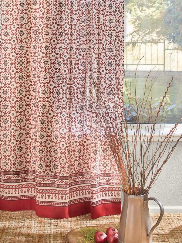 Red Black Kilim Geometric Sheer Curtain Panel