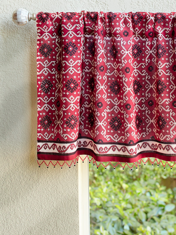 Rustic Red Sheer Beaded Window Valance Treatment