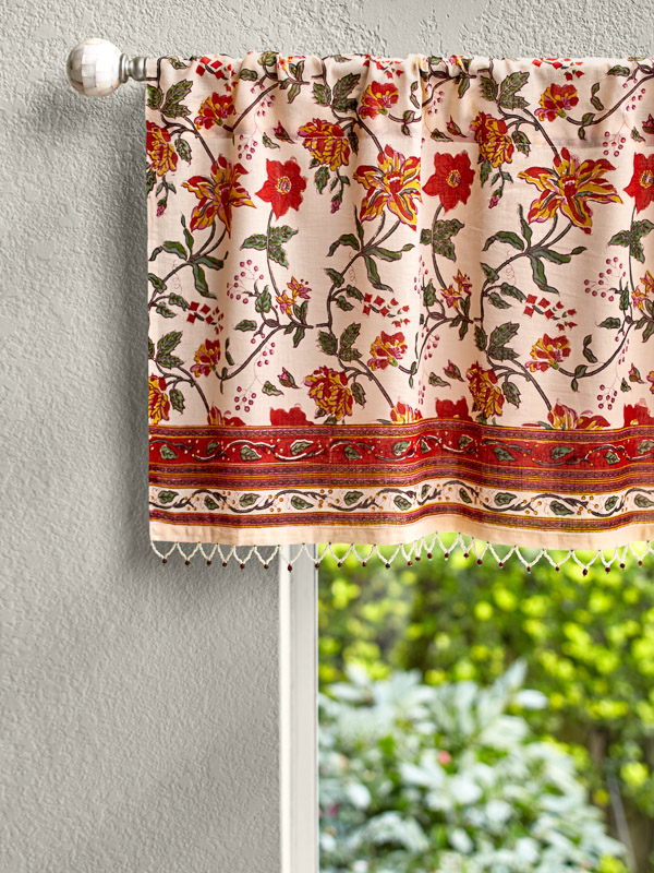 Country Cottage Colorful Beaded Window Valance